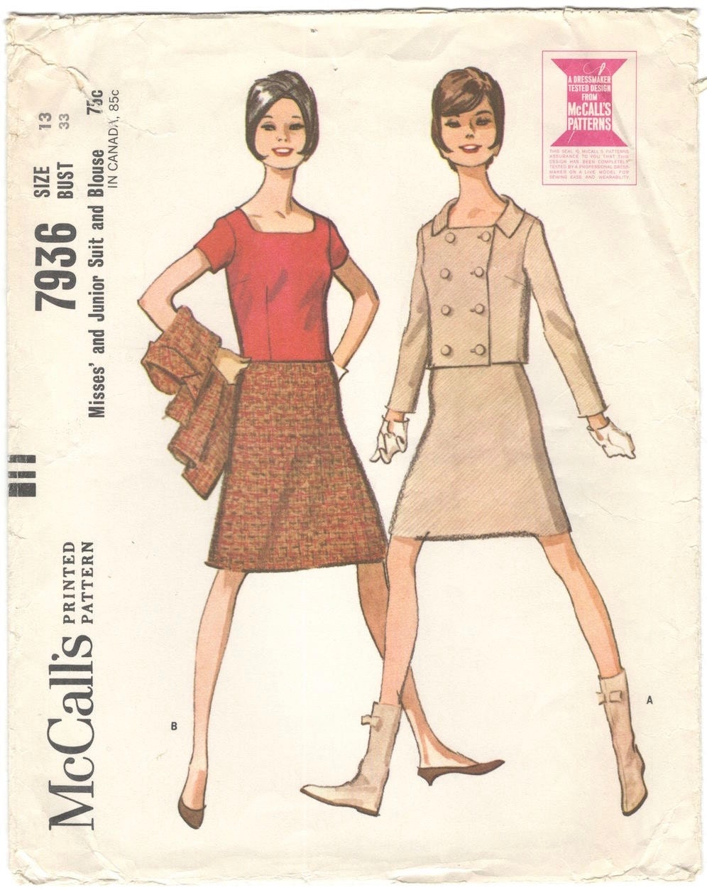 1960s skirt suit and blouse pattern after Courrèges - McCall's 7936