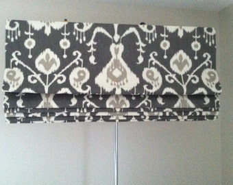Roman-Shade-Curtains-Drapes - Custom Made To Order in Pewter or Pick a Color