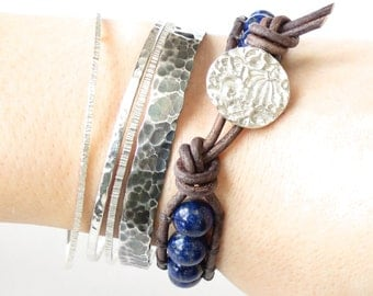 Lapis Lazuli bead bracelet with handmade artisan silver button, single leather wrap, statement bracelet for layering, modern fashion