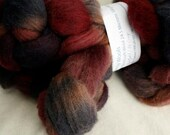 Hand-dyed Haunui New Zealand Halfbred combed wool roving (tops) - 100gr Nightfall over natural Dark Grey