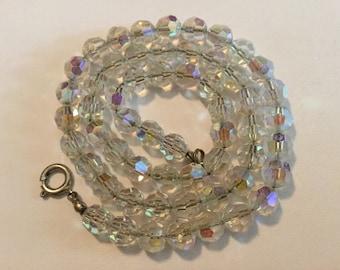 Vintage Necklace Aurora Borealis Crystal Beads on Chain