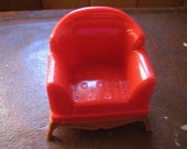 Reliable Dollhouse Living Room Red Upholstered Chair #5 Hard Plastic