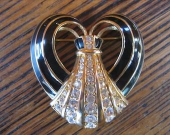 SWAROVSKI Swan Mark Black Enamel Clear Crystal Gold Tone Brooch 1980s