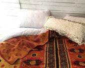 Kantha Quilt, Vintage, Kantha blanket, Gypsy Bedding, Bohemian Bedding, Boho Decor, Orange