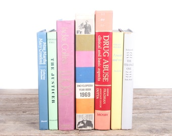 Colorful Books / Old Books Vintage Books / Decorative Books / Antique Books / Vintage Mixed Book Set / Books by Color / Books for Decor