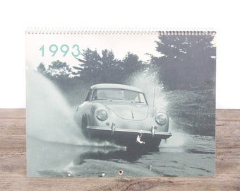 1993 Porsche Calendar / Porsche 356 Car / Porsche Collectible / Retro Porsche Poster / Porsche Decor / Man Cave Car Picture Garage Gift