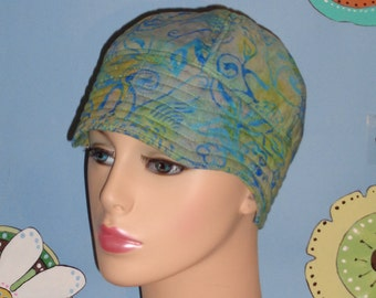 Chemo Hair Loss  Hat Handmade Cancer Cap Jewel Tones of Green and Blue  (For Size Guide, See 'Item Details' Under Photos) SMALL/MEDIUM