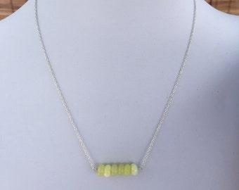 lemon jade beaded bar necklace