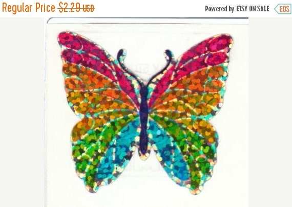 ON SALE Rare Vintage Hambly Glitter Rainbow Butterfly Sticker 80's