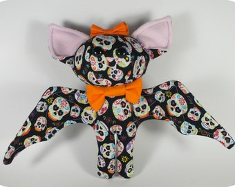 Sugar Skulls Bat Plush with Bowtie
