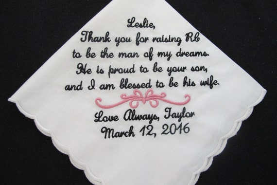 Embroidered Scalloped Wedding Handkerchief for the Mother of the Groom