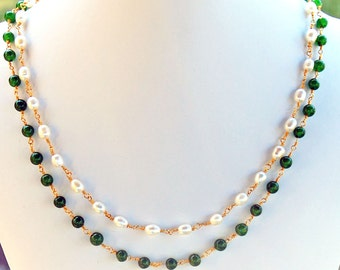 Jade and Pearl Double Strand Necklace - Strand Necklace - Beadwork Necklace - Statement Necklace - June Birthstone