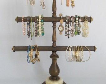 andsome Bangle/Bracelet Stand | 3 Tiers | Antique Brass | Bracelet Display | Upcycled Lamp Parts | Store Display | Gifts for Her