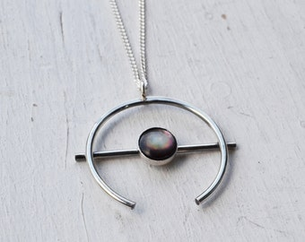 Black Shell Orb Necklace, Sterling Silver Necklace, Crescent Moon Pendant Necklace, Long Silver Necklace, Stone Necklace, Circle Necklace