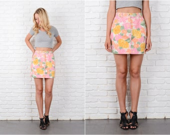 Floral Print Denim Skirt Vintage 90s Mini Pink Flower Jean Small S 8154