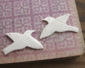 White Carved Bone Bird Pendants Left & Right Facing (2)