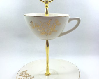 Cheery Blossom Teacup and Saucer Stand Tidbit Tray Jewelry Holder