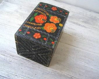 Ethnic Wood Box Handpainted Flowers Orange Black, Vintage Folk Art Floral Jewelry Box, Soviet Trinket Box, Wooden Storage Box Vanity Desk