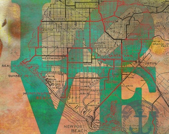 Orange County LOVE | OC Cities Map Decor | Product Options and Pricing via Dropdown Menu