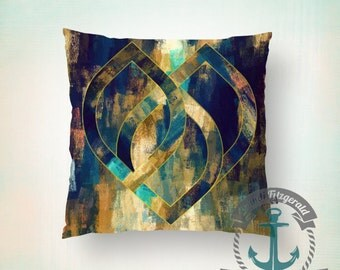 Teardrop Boho Throw Pillow | Abstract Teal & Gold Psychedelic Home Decor | Indoor or Outdoor Available