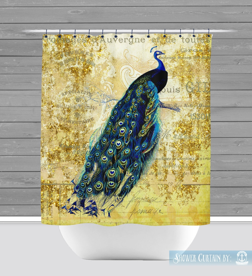 Peacock Shower Curtain Gold Teal Feather Boho Chic High