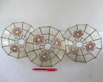 Capiz Shell Lamp Shades, 3 Vintage Cottage Beach Tropical Decor, White, Red Pink Flower, Delicate Scallop Shells, Destash Assemblage Supply