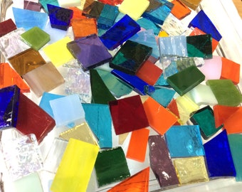 100 SPECIAL CUTS #1 GRABBAG Stained Glass Mosaic Tiles Mix Color B37