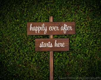 "Rustic Wedding Signs, ""happily ever after starts here"""