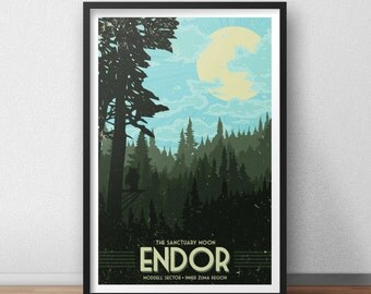 Endor Vacation Poster - 12 x 18 inches - Star Wars - Ewok - Forest Moon