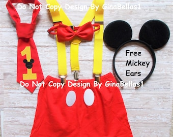 Mickey Mouse Birthday cake smash outfit shorts suspenders 1st clubhouse bow tie OR I am one necktie optional hat 12 18 24 toddler SALE