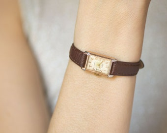 Rectangular women's watch Lyre, classical lady watch tiny, gold shade case woman watch, rare woman wristwatch, premium leather strap new