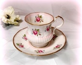 25% YR END SALE Dainty Pink Rose Teacup and Saucer - Ribbed Design with Golden Gilt - Elizabethan - Made in England -