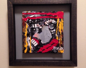 Custom framed 6x6 acrylic on canvas painting