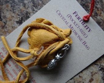 Fertility Handmade Pocket Size Crystal Mojo Medicine Bag