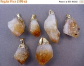 15% Valentines Day Citrine Point Pendant Raw Citrine electroplated gold (S4B1-03)