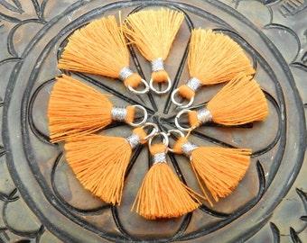 3 pcs Tiny Tassel Pendant--  Orange Colored Tassel Pendant with Silver Tone Bail - BULK LOT OF 3 - (S36B24-05)