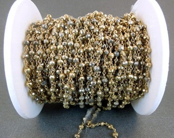 35% off Wholesale Pyrite gold over sterling silver wire Wrapped Chain or plated -- ONE FOOT chn-93