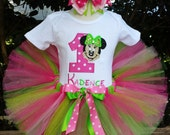 Minnie Mouse Birthday outfit tutu outfit lime and pink photo prop personalized FREE with name and BD number