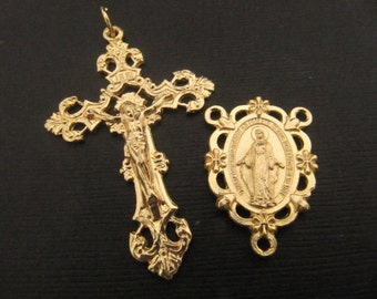 Beautiful 14kt Gold Plate Large Ornate Rosary Crucifix and Matching Miraculous Medal Center - 1 Pair