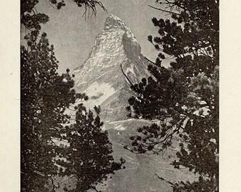 Antique print The Matterhorn 1920s illustration decor b/w mountain