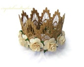 Ready to Ship, Gold Crown with Ivory Flowers, Birthday Girl Crown, Princess Crown, Queen Crown, Lace Crown,