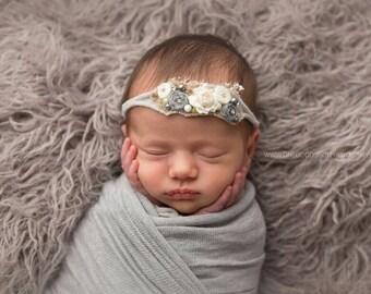 Light Gray Floral Headband, Soft Newborn Headband, Photo Prop, Baby Props, Ivory Headband, Newborn Props, Baby Tieback