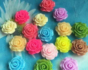 50pc 20mm mixed colors resin  rose flower cabochon/cameo charms