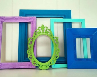 Eclectic Home Decor Vintage Frames Purple Blue Painted Frames Upcycled Frames Little Boys Room Decor