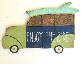 Woody Wagon wood sign Enjoy the Ride Navy aqua  and lime green