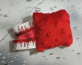 """Blood Drip Vampire Halloween Deluxe """"Ribbean"""" Ribbon SMOL BEAN : Handmade Pocket-Sized Weighted Fidget Toy for Stress Anxiety and Autism"""