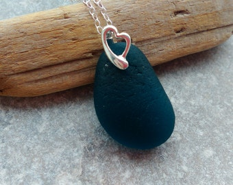 Teal English Sea Glass Pendant Necklace Sterling Silver