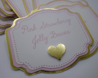 Pink and Gold Candy Buffet Label, Pink and Gold Heart or Crown Candy Buffet Label, Label, Jar Labels, Princess Baby Shower, Bridal Shower