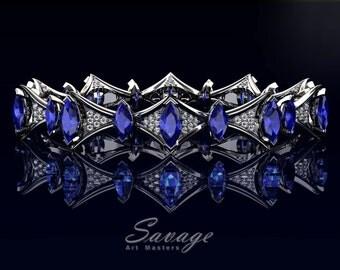 Savage 14K White Gold 15.0 Ct Marquise Blue Sapphire Diamond Art Nouveau Bridal Bracelet R438B-14KWGDBS
