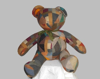 """Quilted Teddy Bear 24"""" Hand Dyed Hand Painted Cotton Browns Grays and More"""